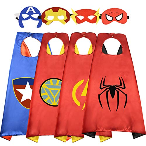 10 Year Old Costumes (Roko Toys for 3-10 Year Old Boys, Superhero Capes for Kids 3-10 Year Old Boy Gifts Boys Cartoon Dress up Costumes Party Supplies Stocking Stuffer 4 Pack)
