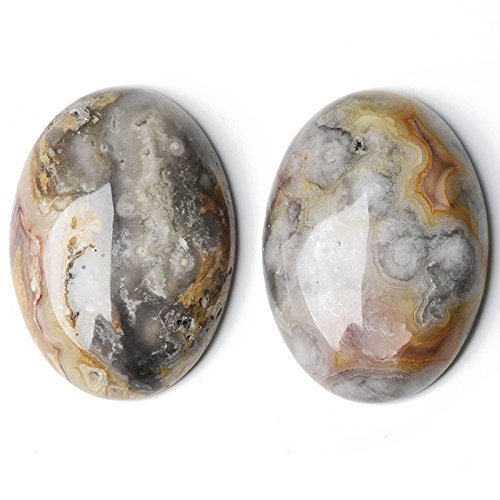 1 x Mixed Crazy Lace Agate 18 x 25mm Oval-Shaped Flat-Backed Cabochon - (CA16631-6) - Charming Beads Something Crafty Ltd