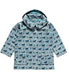 EcoAble Apparel Boy's Kids Rain Coat Jacket with Detachable Hood, 100% Organic Cotton, Horses (7-8 Years)