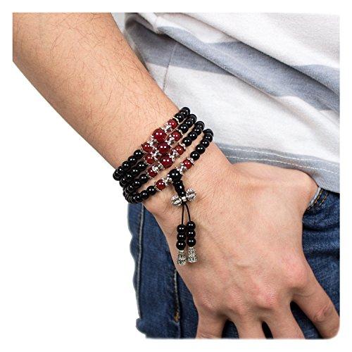 Elastic Evil Eye (Mala Beads,Tiger Eye Tibetan Meditation Buddhist Genuine Black 108 Obsidian Healing Stones Necklace Bracelet(Obsidian,Red Agate))