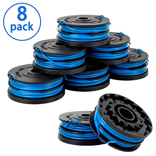 X Home Weed Eater String Spools Compatible with Greenworks G-max 40V Trimmer 2900719 2101602 2101602A Cordless Edger Replacement Spool Refills Parts, 2 x 10ft 0.065 inch Auto-Feed Dual Line (8 Pack)