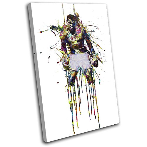 Muhammad Ali Boxing Pictures (Bold Bloc Design - Muhammad Ali Boxing Colourful Sports 60x40cm SINGLE Canvas Art Print Box Framed Picture Wall Hanging - Hand Made In The UK - Framed And Ready To Hang)