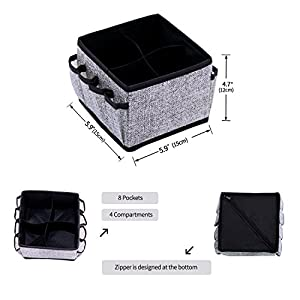 Onlyeasy Makeup Organizer Cosmetic Storage - Drawer Organisers Foldable Storage Bins for Cosmetics Creams Lotions Jewelry Any Accessories with 4 Cells 8 Pockets Set of 2 Black, 8MXAS4P2