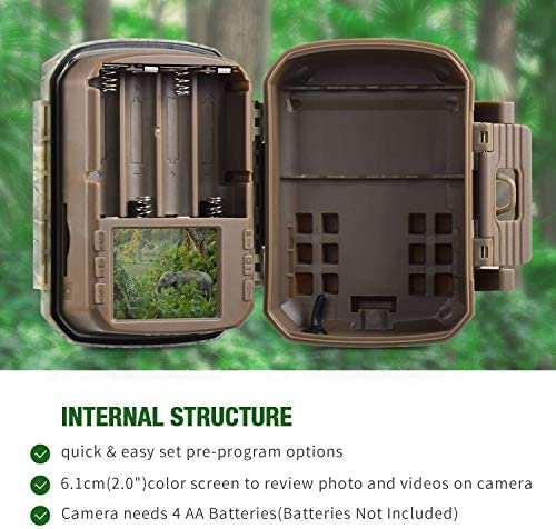 "【2020 Upgrade】 Campark Mini Trail Camera 16MP 1080P HD Game Camera Waterproof Wildlife Scouting Hunting Cam with 120° Wide Angle Lens and Night Vision 2.0"" LCD IR LEDs 51 2B5SpKSuJL"