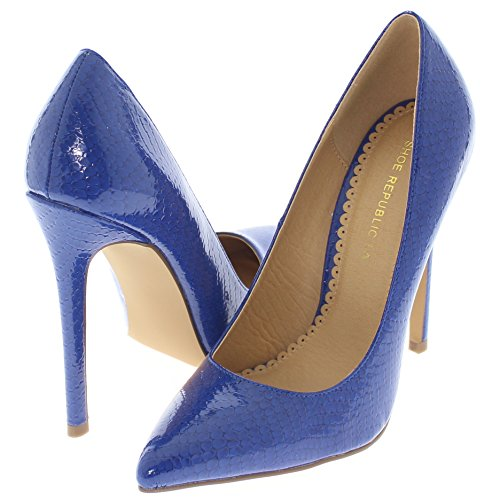 Shoe Republic Pointy Toe Faux Snakeskin Patent Pumps Nimo (Blue 7.5)