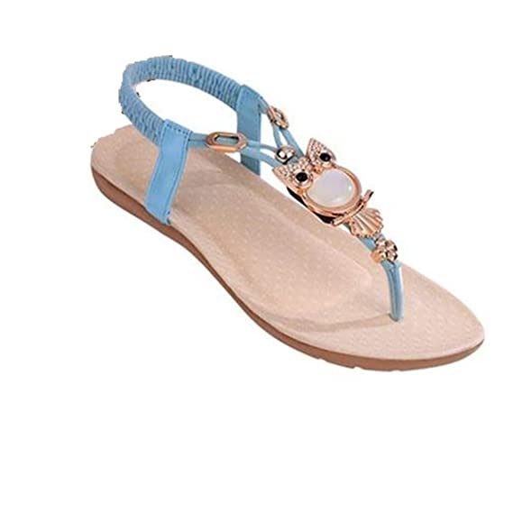 b9bd5594ae Xinan Damen Sommer Schuhe, Frauen Strass Eule süße Sandalen  Klippzehesandelholze Strand-Schuhe (36