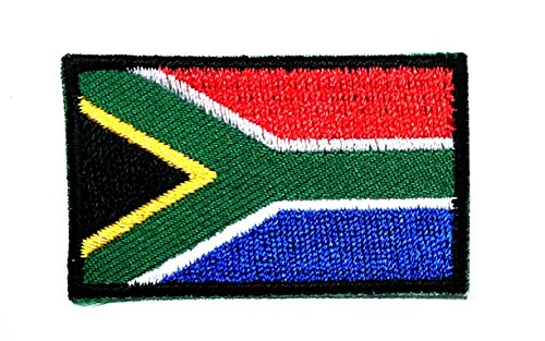 HHO Mini South Africa Flag Patch National Flag Patch Embroidered DIY Patches, Applique Sew Iron on for Everyone Craft Patch for Bags Jackets Jeans Clothes Patch Jacket T-Shirt Sew Iron ()