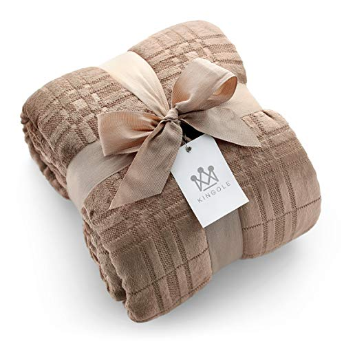 Kingole Flannel Fleece Microfiber Throw Blanket, Luxury Caramel Grid Pattern Queen Size Lightweight Cozy Couch Bed Super Soft and Warm Plush Solid Color 350GSM (90