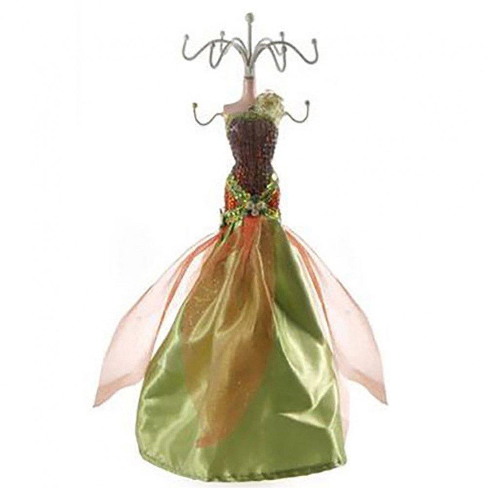 Porta gioielli bambola porta gioielli Dress Collection porta gioielli a forma di manichino con abito da sera per bambola in resina colore: arancione e Verde Présentoirs pour bijoux SKU007565