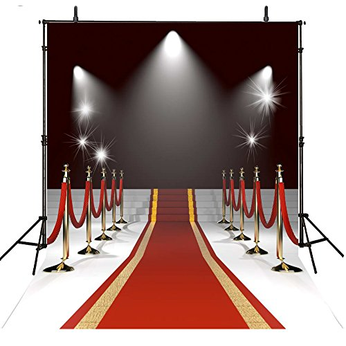 8x8FT Red Carpet Backdrop Photography Props Wedding Photo Backdrop Hollywood Photography Backgrounds Lighting Computer Printed Photo Backgrounds M1770 by Lyneshop (Image #3)