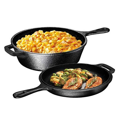(Ultimate Pre-Seasoned 2-In-1 Cast Iron Multi-Cooker - Heavy Duty 3 Quart Skillet and Lid Set, Versatile Healthy Design, Non-Stick Kitchen Cookware, Use As Dutch Oven Frying Pan (Pre-Seasoned))