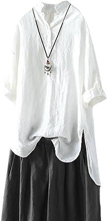 MatchLife - Camisas - Camisa - Cuello Mao - Manga Larga - para Mujer Blanco Blanco: Amazon.es: Ropa y accesorios