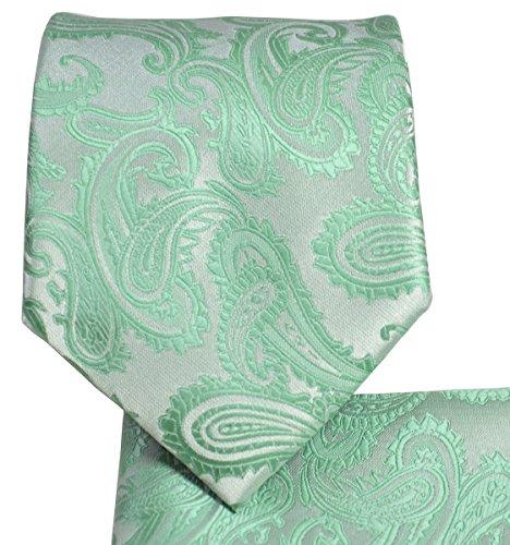 Men's Paisley Necktie Set (Mint Green)