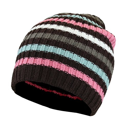 Purple Striped Women's Winter Multi Color Knit Beanie, Warm Ribbed Skull Cap (Brown Striped Beanie)