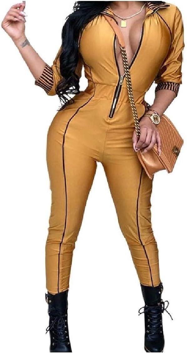 FieerWomen Zip 3//4 Sleeve Lapel Striped Splice Slim Skinny Jumpsuit Romper