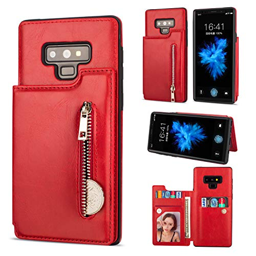 Zipper Wallet Case for Samsung Galaxy Note 9,Shinyzone Samsung Galaxy Note 9 Case with Money Pocket [One Magnetic Buckle] Premium Vintage Leather PU Flip Back Cover-Red from ShinyZone