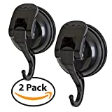 FE-H2031-2PK | 2 Pack | Powerful Push & LOCK Color Pop Suction Hook Holds up To 13 lbs Black