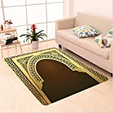 Nalahome Custom carpet Decor Middle Eastern Ramadan Greeting Scroll Arch Figure Celebration Holy Eid Theme Golden Brown area rugs for Living Dining Room Bedroom Hallway Office Carpet (5' X 7')