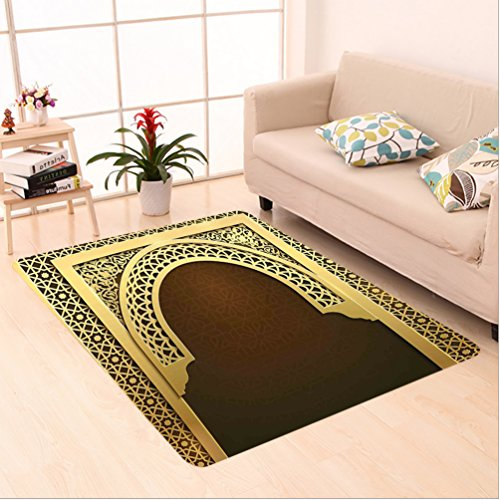 Nalahome Custom carpet Decor Middle Eastern Ramadan Greeting Scroll Arch Figure Celebration Holy Eid Theme Golden Brown area rugs for Living Dining Room Bedroom Hallway Office Carpet (5' X 7') by Nalahome