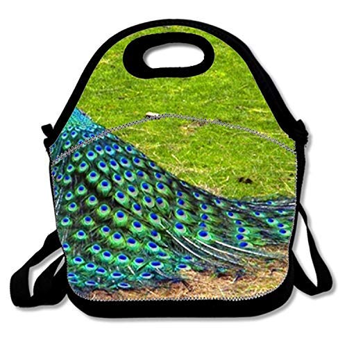 Purpose Hd Camo - Neoprene Lunch Bag Tote Reusable Insulated Waterproof School Picnic Carrying Lunchbox Container Organizer For Men, Women, Adults, Kids, Girls, Boys - Peacock Photography Hd