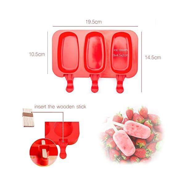 Popsicle Molds Stampo Per Gelato Popsicle Maker Popsicle Stampi Ghiacciolo Rosso Ellittico Con Popsicle Stick beicemania 5 spesavip