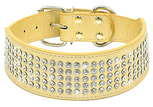 s Dog Collars - 5 Rows Full Sparkly Crystal Diamonds Studded PU Leather - 2 Inch Wide -Beautiful Bling Pet Appearance for Medium & Large Dogs,15-18