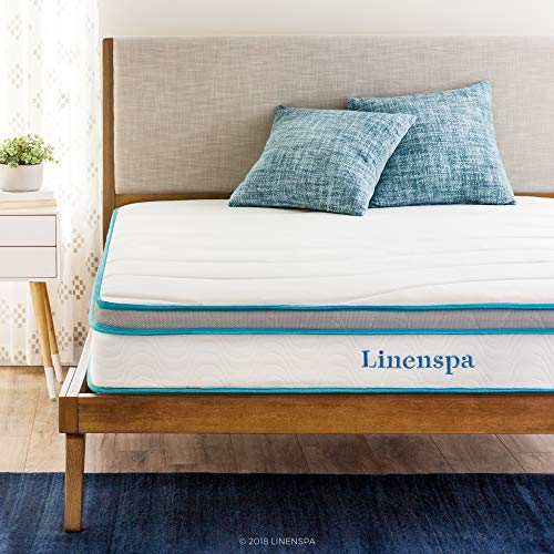 wooden heardboard bed with Linenspa Twin Mattress and 2 pillows