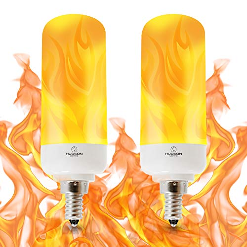 LED Flame Effect Light Bulb: E12 Candelabra Base Flame Bulbs - 3W - 200 Lumen - Energy Efficient Flickering Fire Lights for Indoor/Outdoor Use - 2 Pack