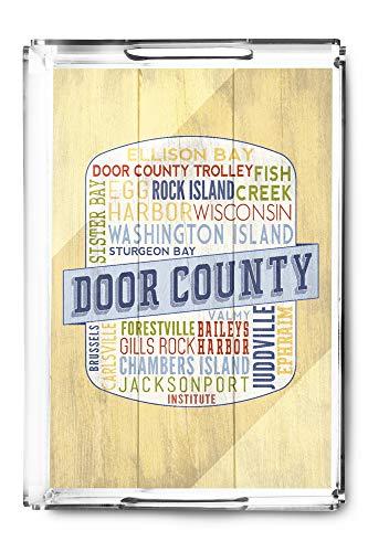 (Door County, Wisconsin - Door County Trolley - Rustic Typography - Contour 98341 (Acrylic Serving Tray))