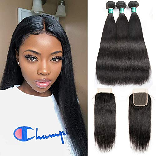 Peruvian Virgin Human Hair 3 Bundles With Lace Closure Body Wave Bundles With Lace Closure 4*4 Free Middle Three Part Ali Pearl Vivid And Great In Style 3/4 Bundles With Closure