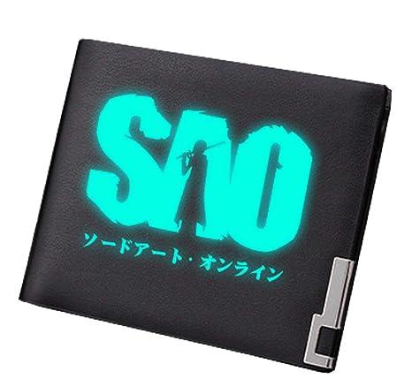 Cosstars Sword Art Online Anime Luminoso Cartera Hombre Cuero Artificial Billetera Portatarjetas Slim Wallet Negro /