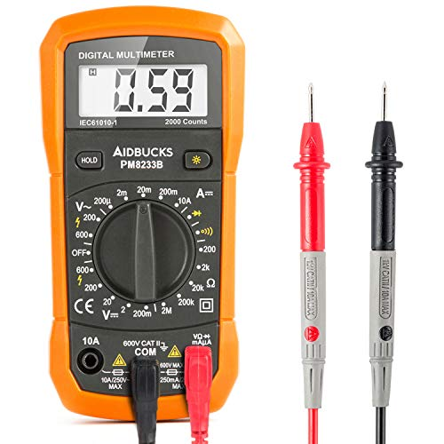AIDBUCKS PM8233B Entry-Level Digital Multimeter AC/DC Voltage Tester Measure Frequency Resistance Capacitance Diode Continuity - Includes Battery
