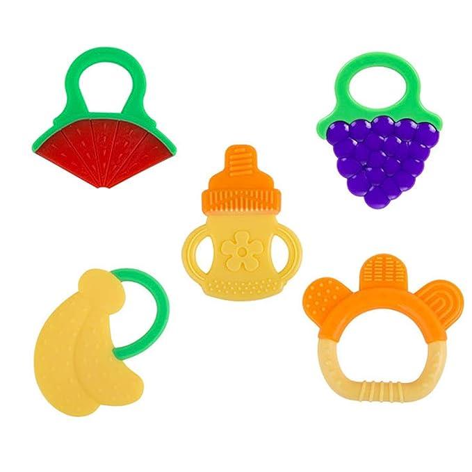 6 pcs Baby dentición juguetes fda-approved Soft Silicona fruta ...