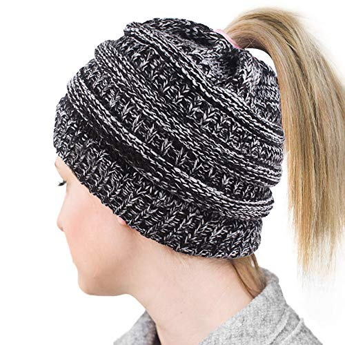 (Lvaiz Womens Ponytail Beanie Tail Crochet Knitted Messy Bun Knit Hat Stretch Cable Chunky Bun Hat Cap)