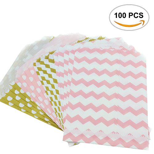 100PCS Fyess Gold And Pink Candy Treat/Favor Paper Bags, Food Safe Biodegradable Paper Treat Sacks Perfect for Party filled with Small Favors.(Two Color, Two (Gold Filled Bags)