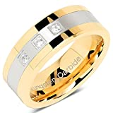 Tungsten Rings For Men Gold Silver Crystal Wedding Bands Two Tone 3 CZ Stone Promise Marriage Size 8-15