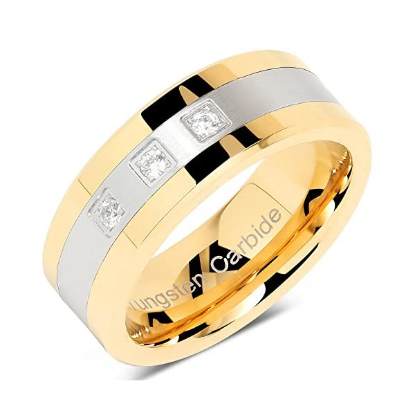 100S JEWELRY Tungsten Rings For Men Gold Silver Crystal Wedding Bands Two Tone 3 CZ Stone Promise Marriage Size 8-16 - 51 2B5Xjx4BGL - 100S JEWELRY Tungsten Rings For Men Gold Silver Crystal Wedding Bands Two Tone 3 CZ Stone Promise Marriage Size 8-16