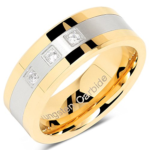 (100S JEWELRY Tungsten Rings for Men Gold Silver Crystal Wedding Bands Two Tone 3 CZ Stone Promise Marriage Size 8-16 (10))