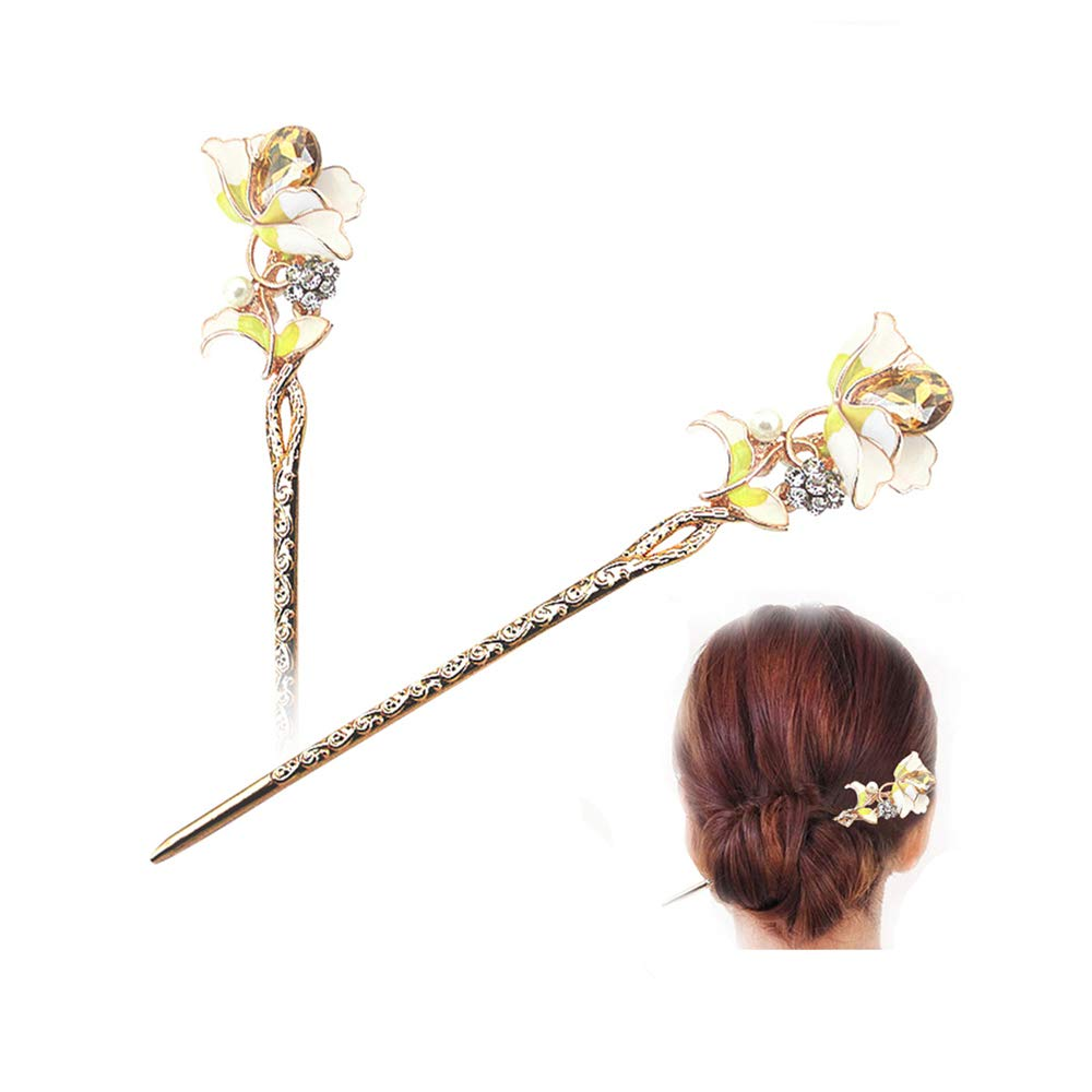 STAR-TOP Chinese Hair Chopstick Hair Decor flower Hair Pin Hair Clip Metal Hair Stick with Jewelly Box