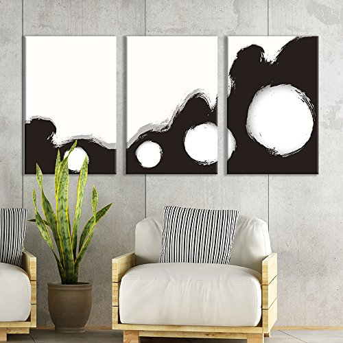 3 Panel Black Knuckles Brush Stroke Ink Decor x 3 Panels