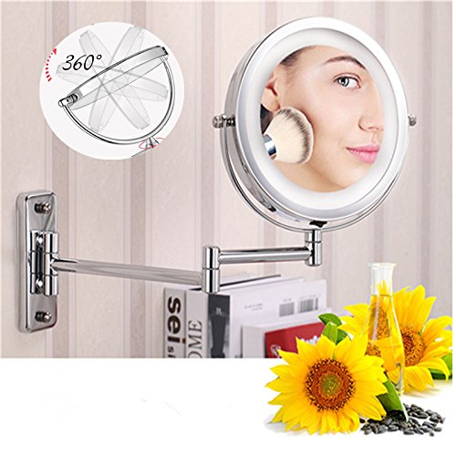 Tinsay Retractable LED Bathroom Mirror Dual Arm Extend 2-Face Make up Mirror Wall Mounted Cosmetic Mirror with Light
