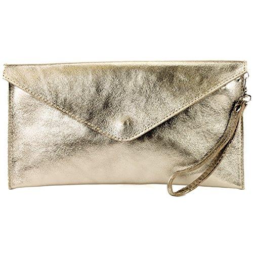 modamoda de - ital. Ledertasche Clutch Unterarmtasche Abendtasche Leder Metallic M106-151 M106 Beigegold Metallic Go1aA