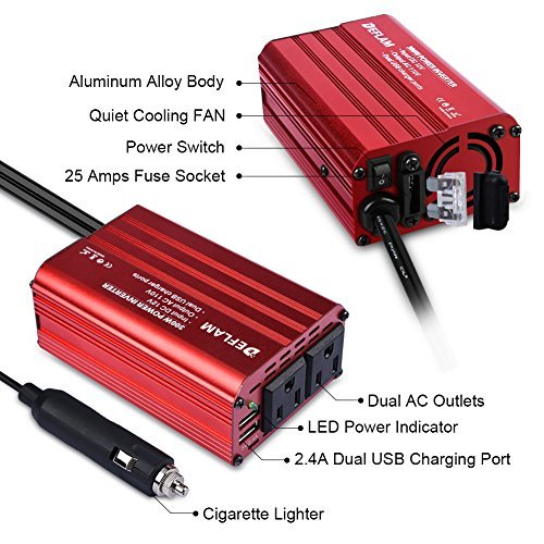 DEFLAM 300W Power Inverter DC 12V to 110V AC Converter with 2.4A Dual USB Charging Ports Car Adapter