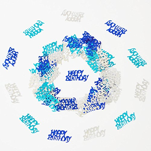 Happy Birthday Confetti 50g 1000 Pieces Multi Colors Mixed Happy Birthday Words Letters Confetti for Birthday Party and Special Events Table Scatters Decorations (Blue Silver (Birthday Party Confetti)