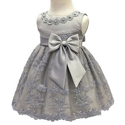 Coozy、 Baby Girl Birthday Wedding Dress Infant Flower Girls Christening Baptism Dresses With Bowknot (18M/13-18months, Grey) by Coozy