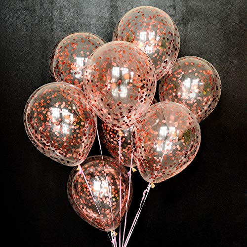 Dusico Gold Confetti Balloons for Party Decorations, Rose Golden Paper Dots Inside Clear 12 Inches Latex Balloon, (20 Pack), for Helium Or Air. Wedding Supplies