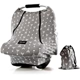 """Baby Car Seat Covers-AMAZLINEN Multifunctional Infant Carseat Canopy For Boys Girls,Insect Free Stretchy Breathable Adjustable Peep Window Universal Fit Gray """"Arrowshower"""""""