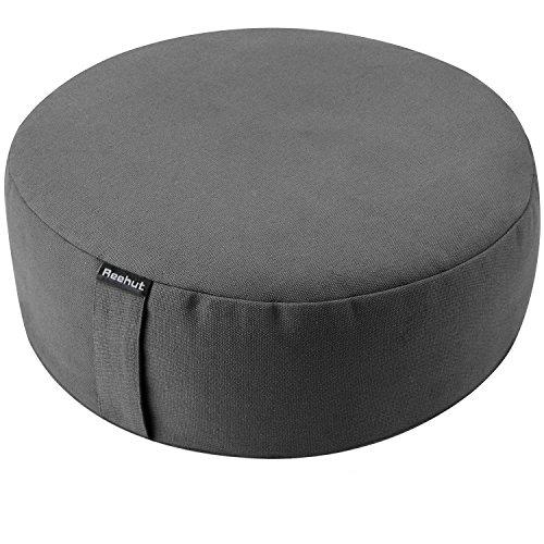 (REEHUT Zafu Yoga Meditation Bolster Pillow Cushion Round Cotton or Hemp - (Dark Grey, 16