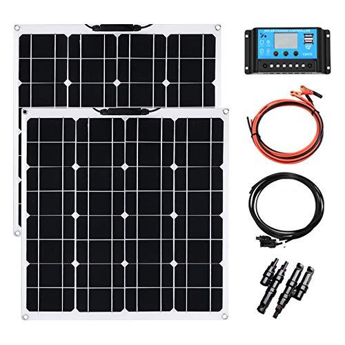YUANFENGPOWER Solarmodul 12V 50W Solarpanel Monokristallin Solarzelle Photovoltaik Solarladegerät Solaranlage Flexibel für Auto Batterie, Wohnmobil, Camper, Boot, 12V Batterien