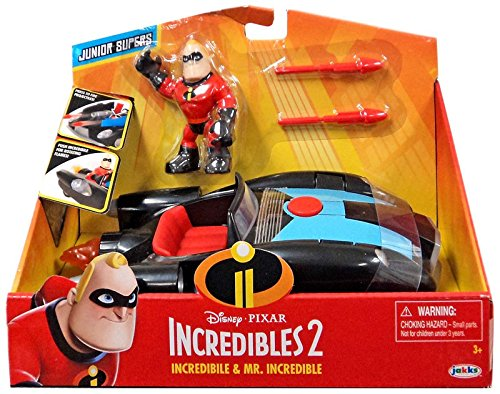 The Incredibles 2 Incredibile Car   Mr  Incredible Action Figure 2 Piece Set  Black Car And Red Mr  Incredible Figure  Medium